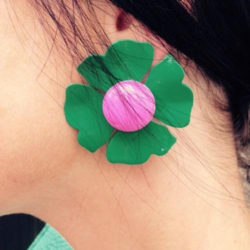 Green earring detail!