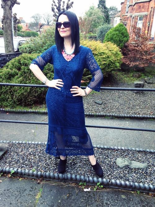 90s vintage crochet dress in petrol blue. Love this spring look.